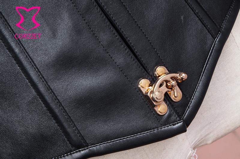 Black Faux Leather Sexy Cupless Bustier Corset Underbust Steampunk Gothic Waist Trainer Corsets Vest Steel Bone Waist Trainer