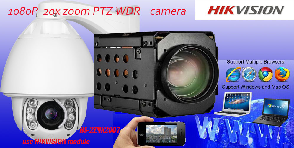 CCTV 1080P 2M X20 IP Speed D N Dome Camera PTZ Auto Tracking Hikvision Module