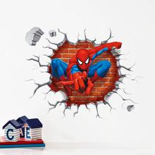 3d Cartoon Spiderman wall stickers for kids rooms home decor Kids Nursery Wall Decals Home decoration Boy room gift Wallpaper(China (Mainland))