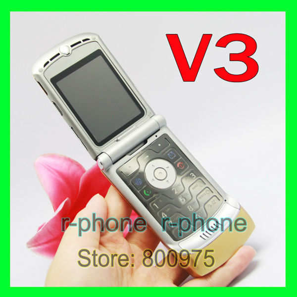 V3 2G GSM Unlocked Original RAZR V3 Mobile Phone Gold & Gift & one year warranty(China (Mainland))
