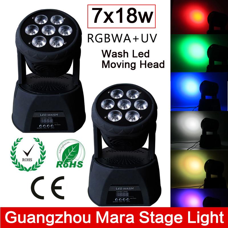 2PCS/Lot 7x18W RGBWA+UV 6in1 Led Moving Head Wash Light DMX512 11/18-channel Professional Lighting Dj Disco Stage Lights(China (Mainland))