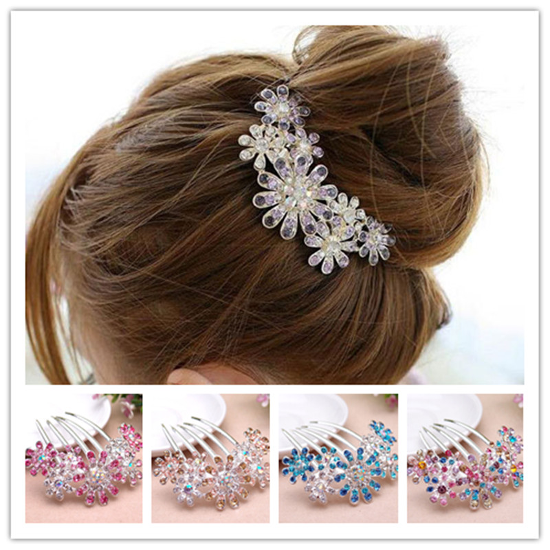 2016 barrettes Rhinestones Crystal flower hairpins with crystals hair clips for women Clips with crystal Hair hair comb hairpin(China (Mainland))