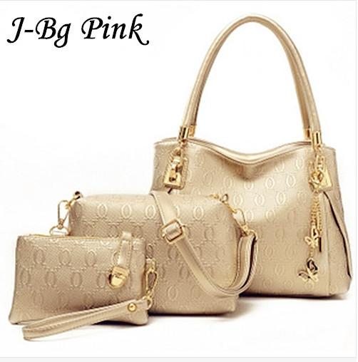 2016 women handbags leather handbag Main ladies Brand Designer Shoulder Bag handbags+women Messenger Bag+Purse Tote 3 Sets(China (Mainland))
