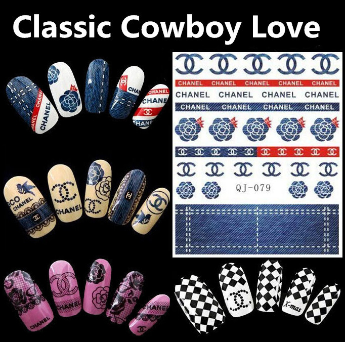 1sheet 2015 Cowboy Rose water transfer decals nail art stickers stencils stickers for french manicure(China (Mainland))