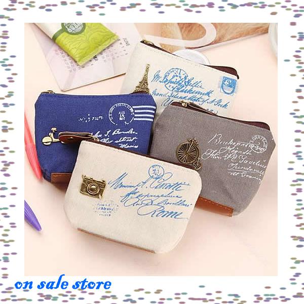 "Y92"" New 4pcs/lot Fashion Zipper Canvas Coin Bag Key Wallet Burse Cartoon Fabric Cotton Purse(China (Mainland))"