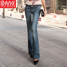 spring bell bottom jeans female 2016 slim horn jeans finishing retro vintage long trousers