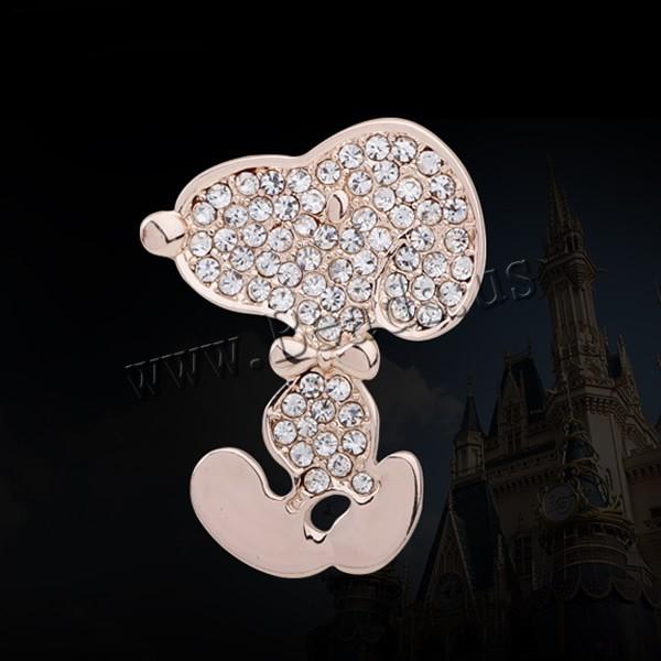 Free shipping!!!Rhinestone Brooch,creative jewelry, Zinc Alloy, Dog, rose gold color plated, with rhinestone, nickel(China (Mainland))