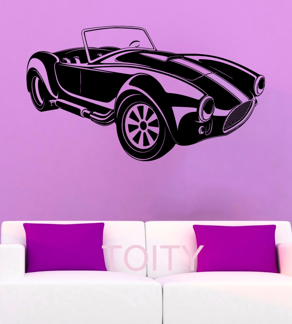 Muscle Car WALL STICKERS CLASSIC ROADSTER ART GRAPHIC DIE CUT VINYL DECAL HOME BEDROOM INTERIOR DECOR STENCIL MURAL(China (Mainland))