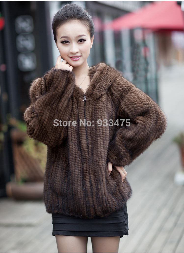 2015 New Genuine Knit Mink Fur Jacket With Hood Mink Fur Coat Warm Winter Fur outerwear EMS Free Shipping TPCM0001(China (Mainland))