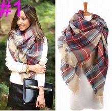 Women Girl Blanket Oversized Tartan Scarf Wrap Shawl Plaid Cozy Checked Beige High Quality