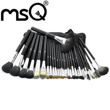MSQ Professional 32pcs Makeup Brushes Set Sable Hair With Black Leather Bag(China (Mainland))