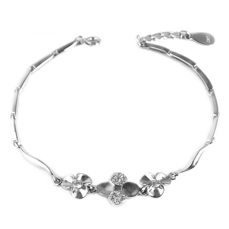 Wholesale Lot Real 925 Pure Silver Romantic 4 Four-Leaf Clover Flower Women Cubic Zirconia Chain &amp; Link Bracelet Fashion Jewelry<br><br>Aliexpress