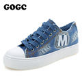 GOGC Slipony Women Footwear Brand Canvas Denim Shoes for Women Thick Soled Sneakers Casual Shoes Women