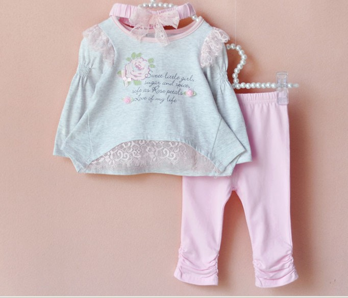 Hot selling new fashion baby girl suit set infant clothes autumn spring printed lace top + pants 6sets/lot