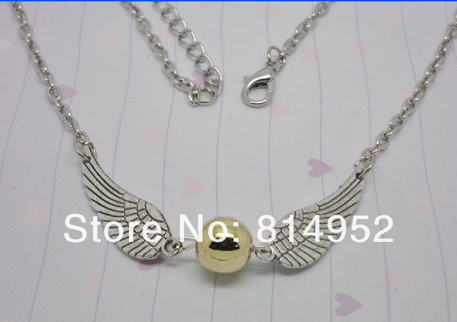 Free Shipping  20Pcs/Lot Golden Snitch Harry Potter The Deathly Hallows Wing Charm Pendant Chain Necklace