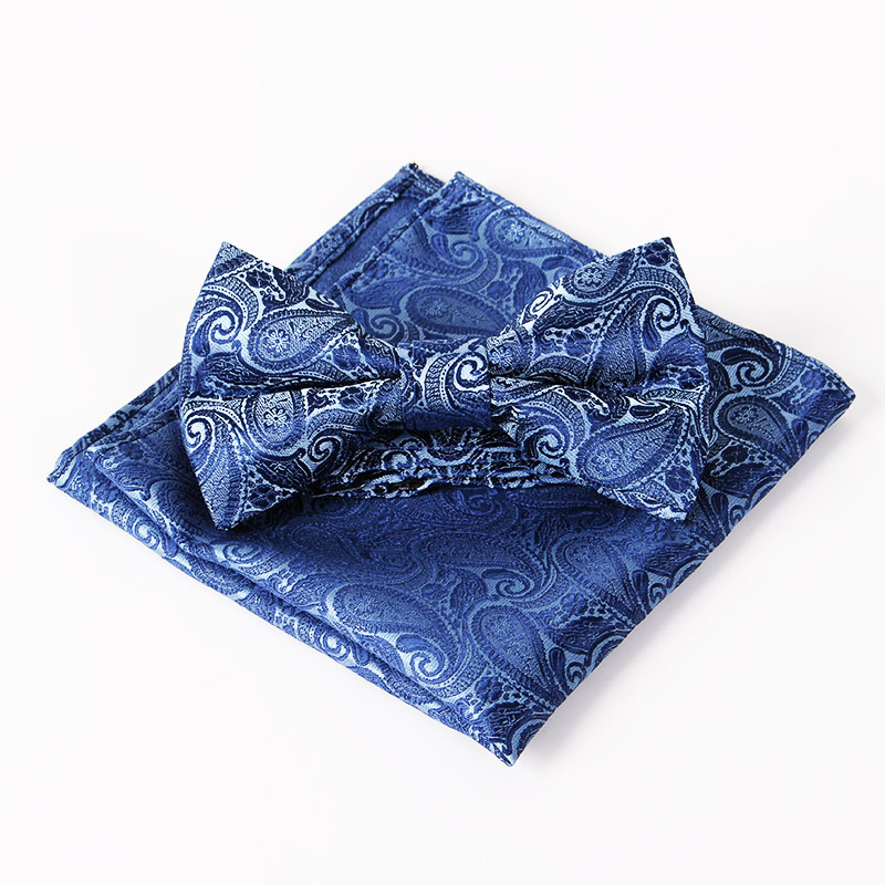 2016 New Fashion Bow Tie & Handkerchief Set Paisley Flower Pocket Square Polyester Silk Wedding Chest Towel & Ties for Mens Suit(China (Mainland))