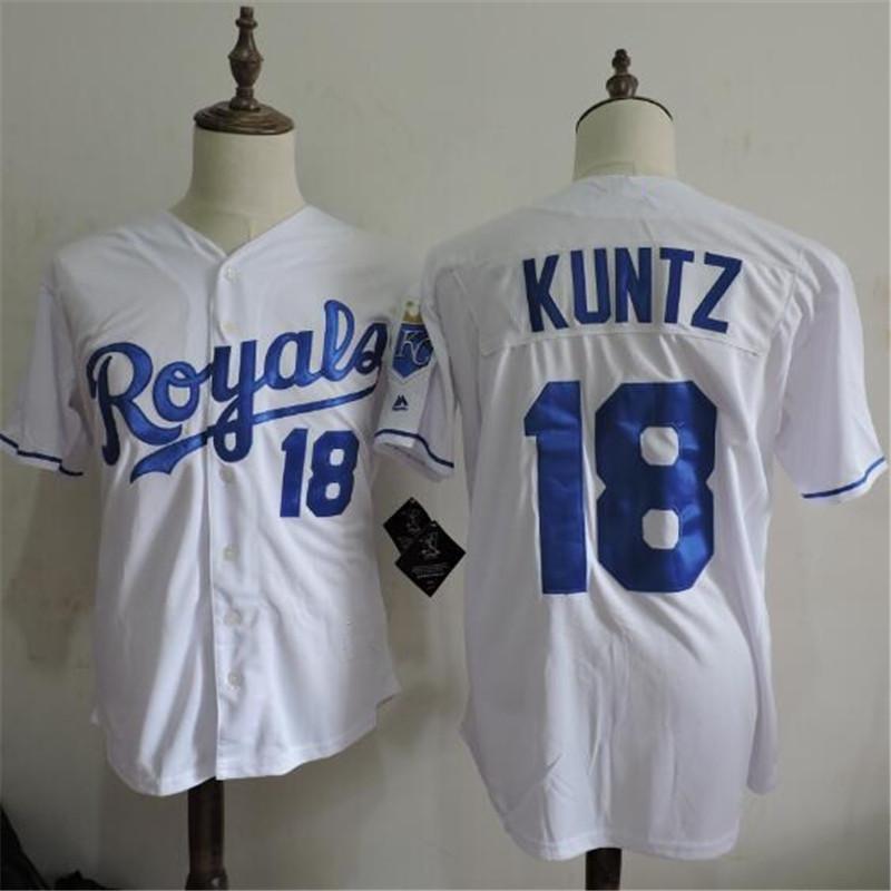 New fabric ! Mens cheap Rusty Kuntz cool base Jersey Home white 18 Rusty Kuntz Baseball Jersey(China (Mainland))