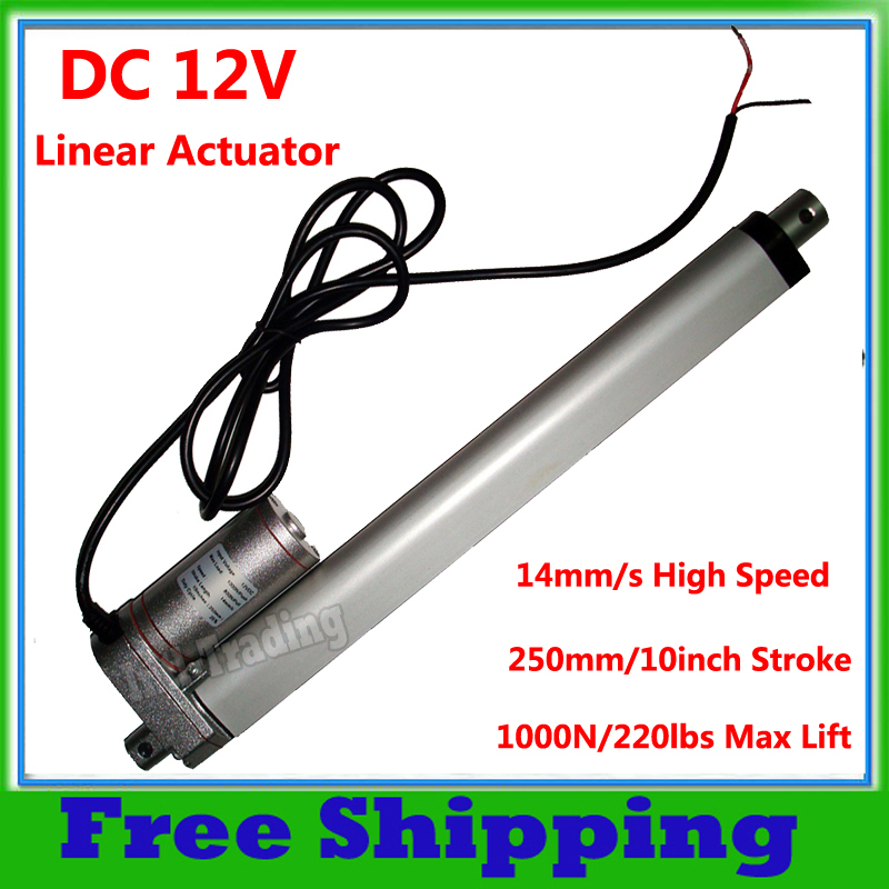 """Heavy Duty 250mm 10"""" Stroke Linear Actuator 1000N/220lbs Max Lift 14mm/s Speed Electric DC 12Volt Motor for Auto Car Door Open(China (Mainland))"""