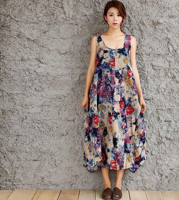 BOHOCHIC Original Ethnic Vintage Robe Art Literature Cotton Linen Irregular Print Vest Women Plus Size Dress Z16037X Boho ChicОдежда и ак�е��уары<br><br><br>Aliexpress