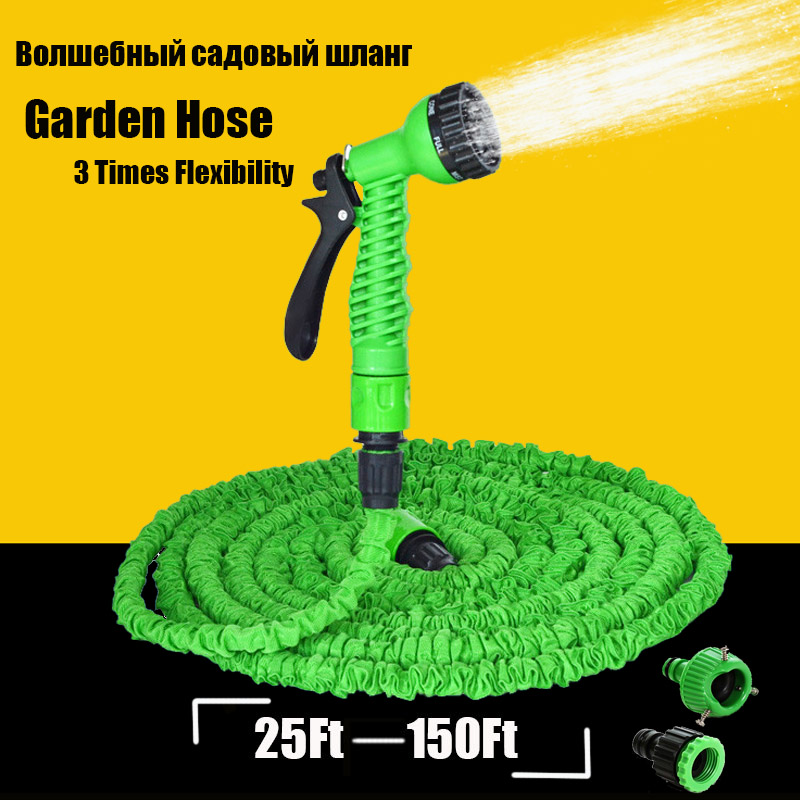 25-150FT Expandable Magic Flexible Garden Hose For Car Water Pipe Plastic Hoses To Watering With Spray Gun Garden Watering Cool(China (Mainland))