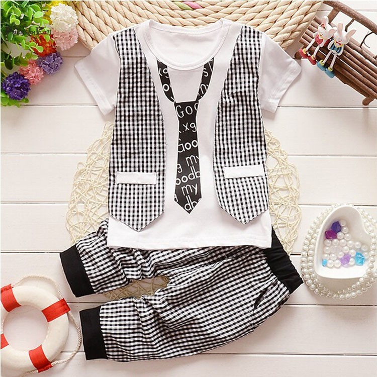 New Fashion Kid Clothing Set Baby Boy Pants Plaid Outfits Boys Tracksuit Short Sleeve O Neckline Faux Tie Vetement Garcon LYP(China (Mainland))