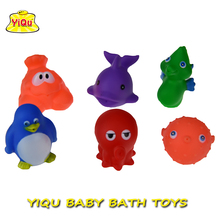 6pcs/lot children bath Toys Soft vinyl rubber toys for babies Mesh bag package vinyl Ocean Animals Water-Spray Sea animal