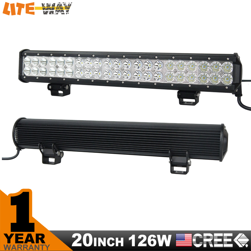 20 inch 126W Cree LED Work Light Bar for Tractor Boat OffRoad 4WD 4x4 Truck SUV ATV Spot Flood Combo Beam 12V 24v<br><br>Aliexpress