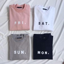Women Men Fashion Clothing Friday Saturday Sunday Monday FRI SAT SUN MON Tops Crewneck Sweatshirts Sweats Jumper Outfits(China (Mainland))