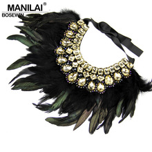 Buy Indian Design Maxi Jewelry Exaggerate Black Feather Statement Crystal Collar Necklaces & Pendants Fashion Chokers Necklaces 2016 for $13.29 in AliExpress store