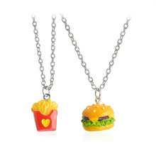 Buy 2pcs/set Mini Fast Food Pendant Necklace Long Miniature Cheeseburger French Fries Burger Heart Love Chain BFF Friendship Jewelry for $1.39 in AliExpress store