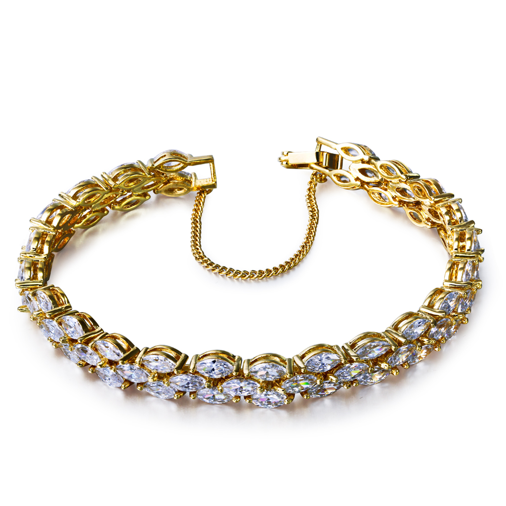 Very nice and recommendable Bracelet! Horse eyes Cubic Zirconia stones Rhodium/Gold plate Bracelets(China (Mainland))
