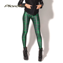 Plardin New Arrival Women 2016 Designed Digital Printed Spandex Pants Vintage Tartan Green Leggings drop shipping Fashion