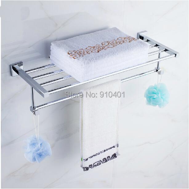 Hot Sale Chrome Brass Modern Square Bathroom Shelf Towel Rack Hodler Towel Bar W/ Hooks(China (Mainland))