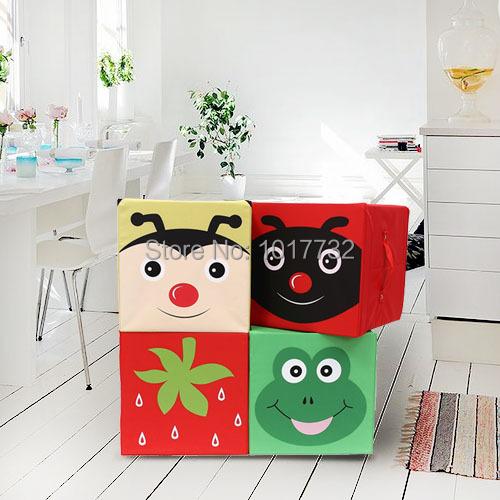 High Quaility Oxford fabric print cartoon toy box miscellaneously dual-order box baby toy storage box stool makeup organizer(China (Mainland))