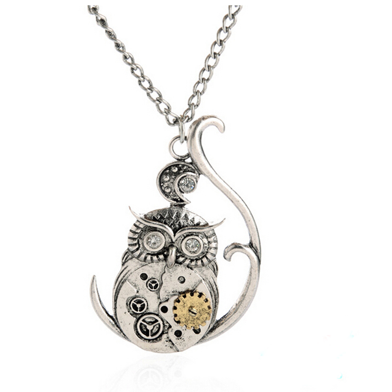 High Quality 2016 Popular Charm Punk Steampunk Silver Owl Machinery Gear Rivet Pendant Necklace Gift(China (Mainland))