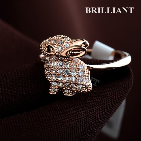 BRA076 Lovely Crystal Rabbit Ring 18K Rose Gold Plated Rings Jewelry Girls Fashion style Full size Italina Brand - Brilliant store