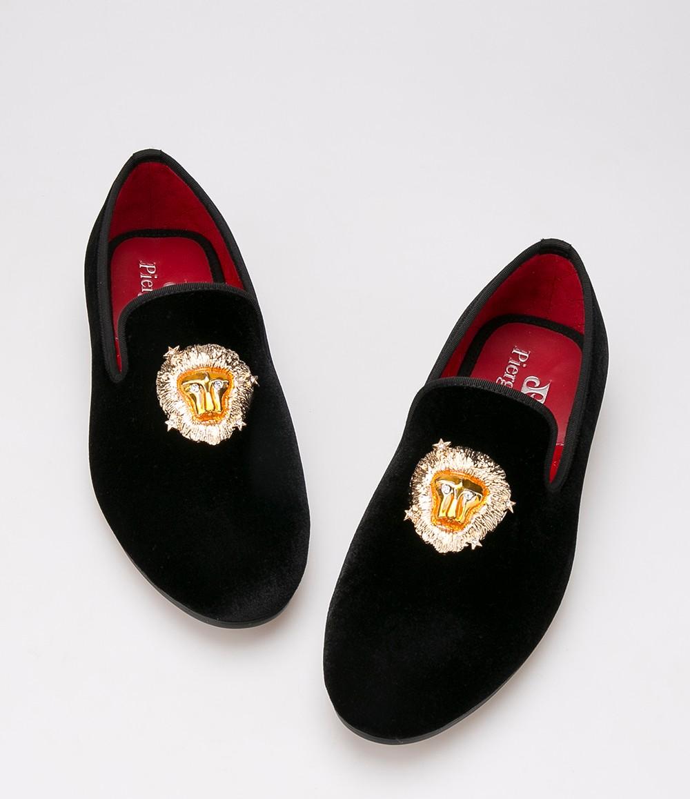 Львы пряжки бархатные туфли свадебные мокасины тапочки для некурящих Men'Flats размер сша 6 - 14 бесплатная доставка