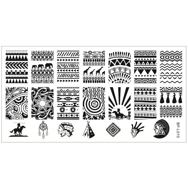 Aztec Pattern Nail Art Stamp Template Image Plate BORN PRETTY BP-L010 12.5 x 6.5cm(China (Mainland))