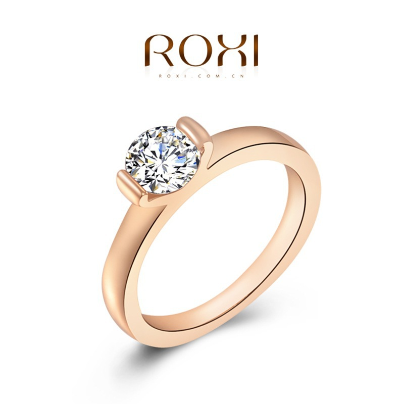 ROXI Ring 2015 Fashion New Women Engagement Austrian Crystal 24K Rose Gold Filled Full Size Zircon Ring Wedding Bride Jewelry(China (Mainland))