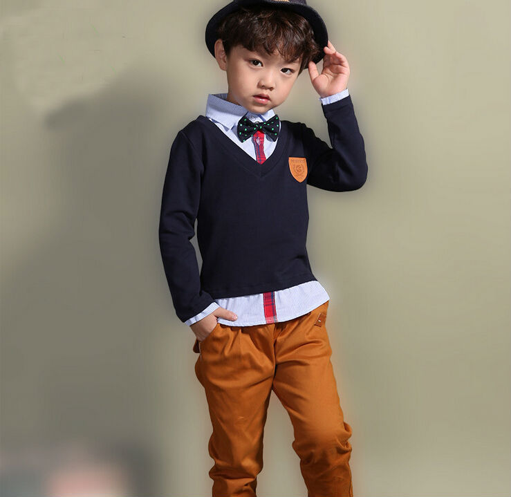 Wholesale 2015 New Fashion Long Sleeve  Gentleman Outfits  Little Boys 2pc Clothing Set  with Bowtie  Boys Twinset Garment <br><br>Aliexpress