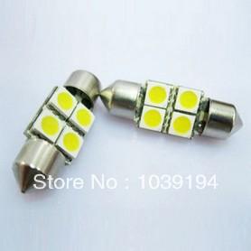 30pcs/lot white 4 SMD 4 LED Festoon Dome Car Bulb C5W 211 212 12V 36mm 31mm 39mm 42mm 4SMD 4LED 5050 Car dome light(China (Mainland))