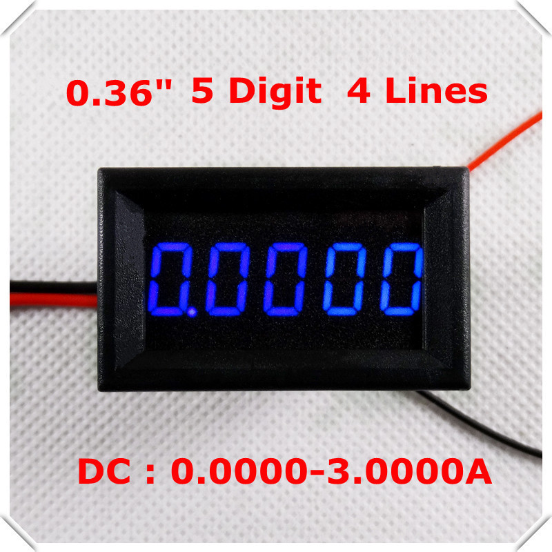 "Digital Ammeter 0.36"" DC 0-3.0000A Four wires 5 digit Current Panel Meter led Display Color: Blue [ 4 pieces / lot](China (Mainland))"