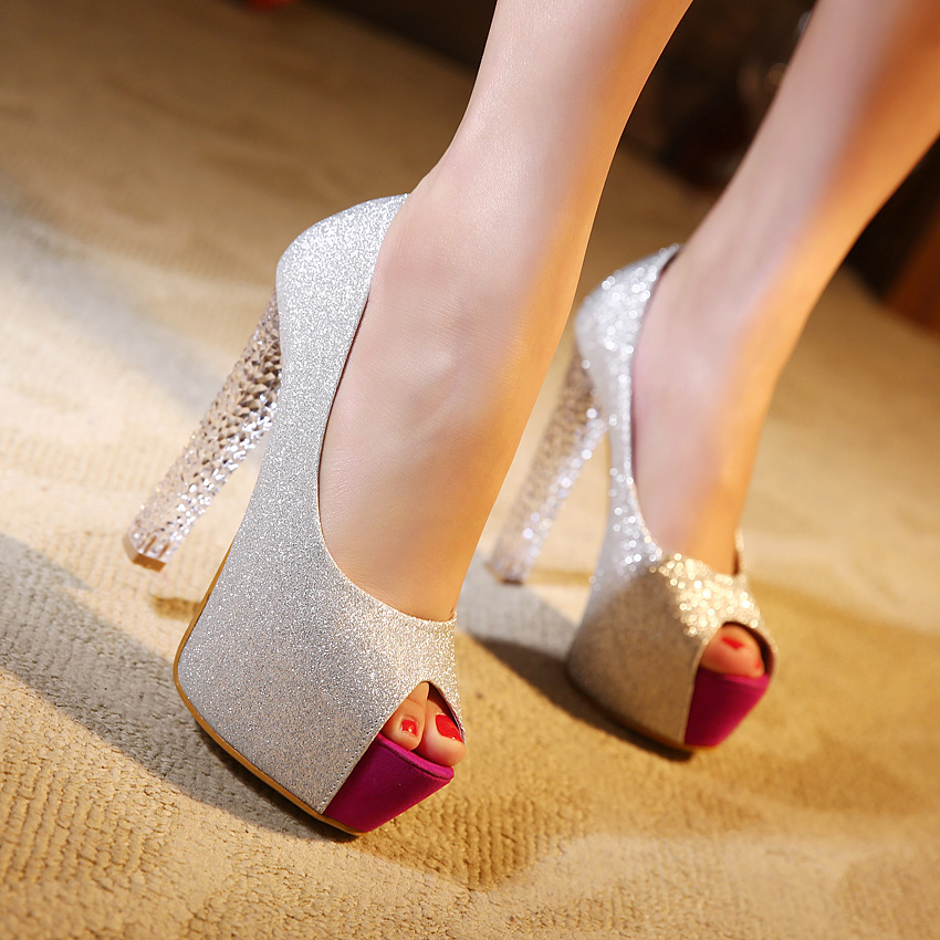 Ultra high heels crystal shoes open toe single thick heel low-top high-heeled shallow mouth women's sexy - Love beauty foot store