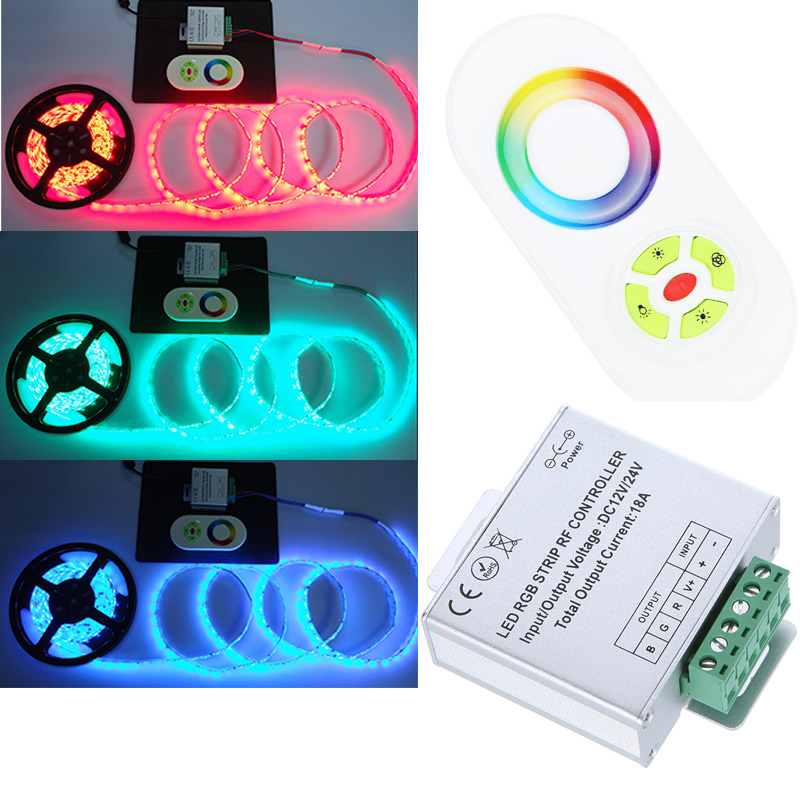 Adjustable brightness Color changing LED Dimmer DC12V/24V Wireless RF Remote Control Touch Panel RGB Controller for LED Strips(China (Mainland))