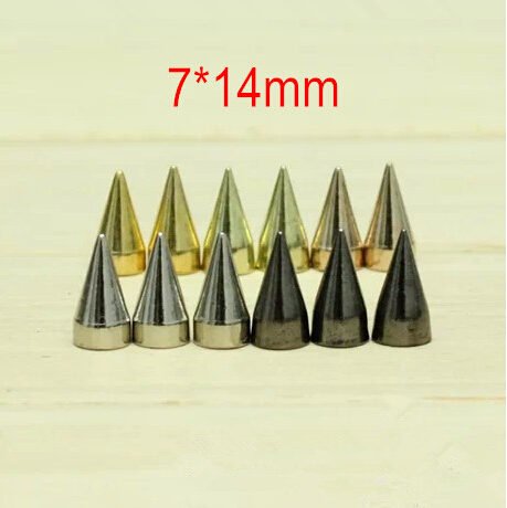 Free Shipping -100 set Bullet Metal Rivet Spike Studs With Screw Back 7*14mm Gold,Silver,Rose Gold,Leather,Bag,Belt DIY Findings(China (Mainland))