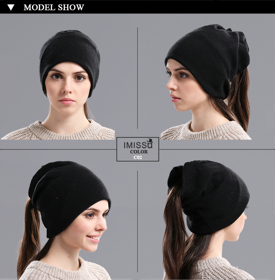 IMISSU Autumn Winter Beanie Hats Women's Knitted Wool Skullies Solid Color Casual Cap Ski Gorros Bonnet Femme Hats for Women