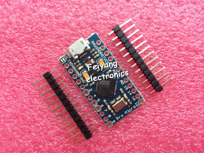 Free Shipping New Pro Micro for arduino ATmega32U4 5V/16MHz Module with 2 row pin header For Leonardo in stock . best quality(China (Mainland))