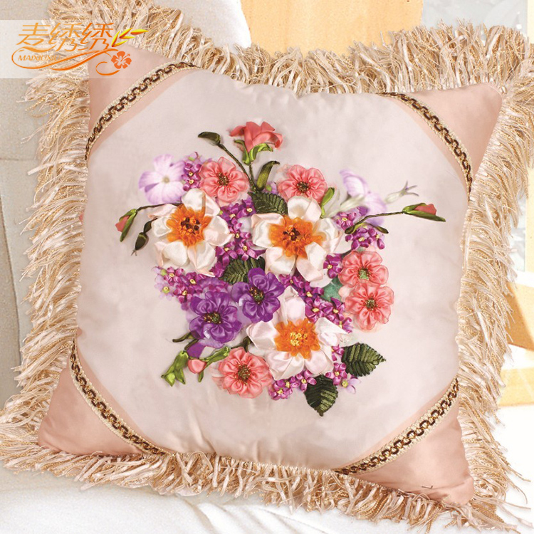 Ribbon embroidery high-grade car pillow flowers romantic non cross stitch 3D new color printing(China (Mainland))