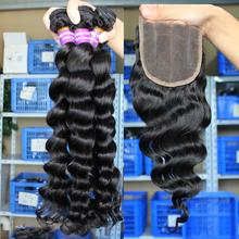 Peruvian Virgin Hair With Closure Loose Wave Human Hair Weave Lace Closure With Bundles 4Pcs/Lot Rosa Hair Products With Closure(China (Mainland))