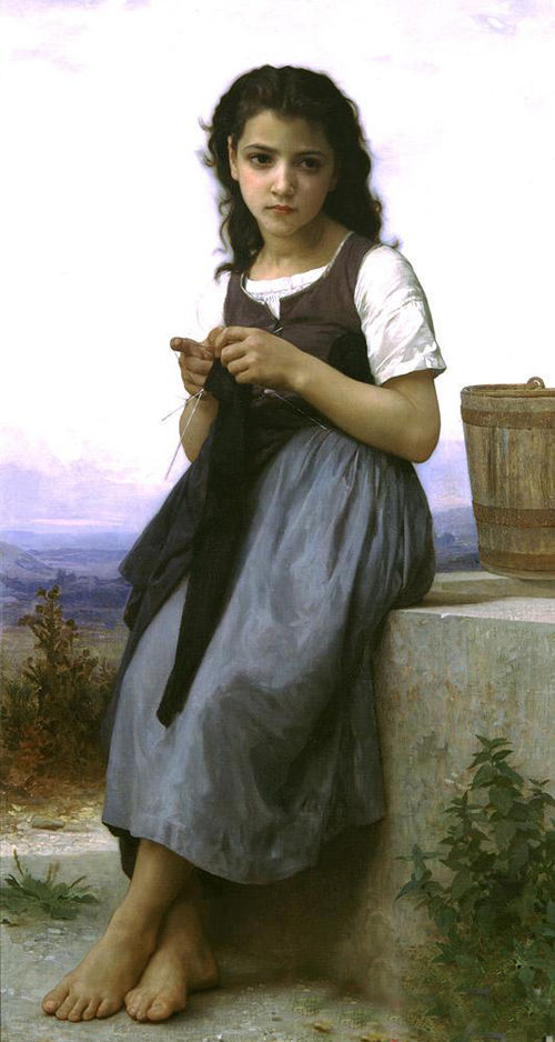 Fine Oil painting Bouguereau - The Little Knitter girl in landscape canvas framed(China (Mainland))